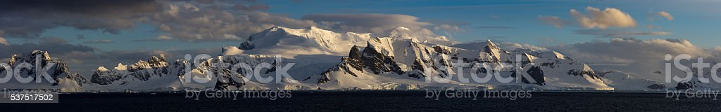 Ultra Wide angle panorama of mountain scenery in Antarctica stock photo