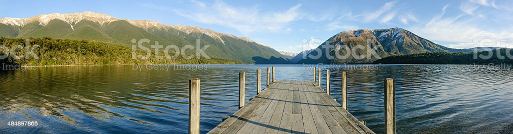 Ultra wide angle view of Nelson Lakes National Park stock photo