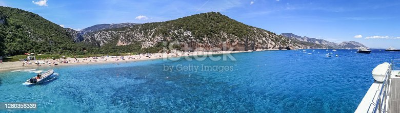 Ultra wide panorama of the beach and the coast line of Cala Luna