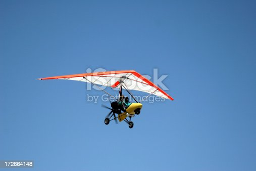 Airborne Motorized Ultralight Glider in a cloudless blue sky. Click on an image to go to my Civilian Airplane Lightbox.