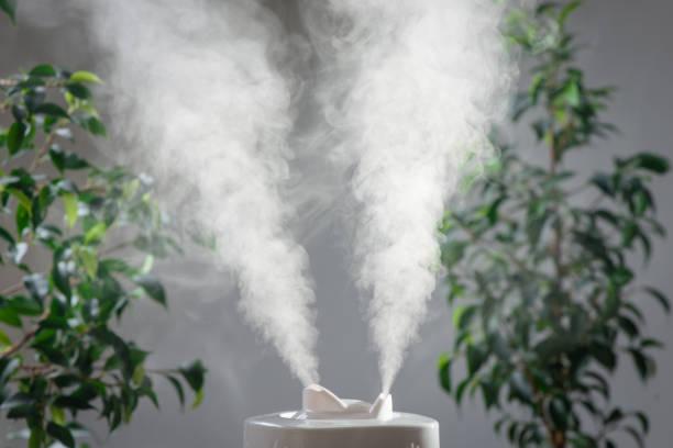 家の中の超音波加湿器です。加湿。蒸気 - 加湿器 ストックフォトと画像