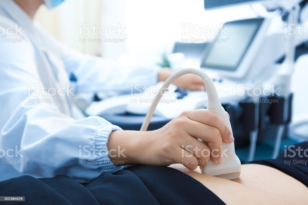 Ultrasound exam stock photo
