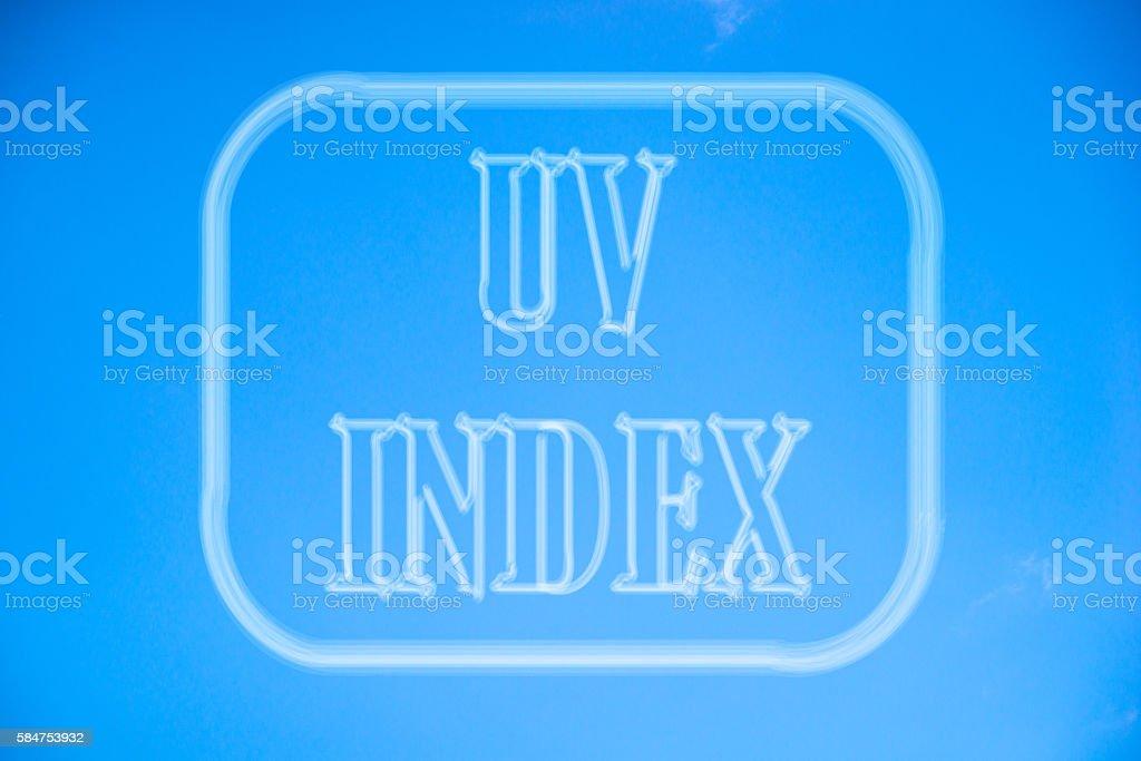 Ultraviolet index or UV Index stock photo