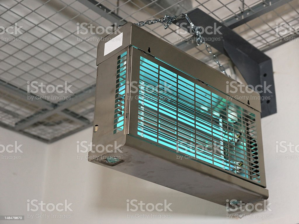 Ultraviolet lamps used to sterilize air, copy space stock photo