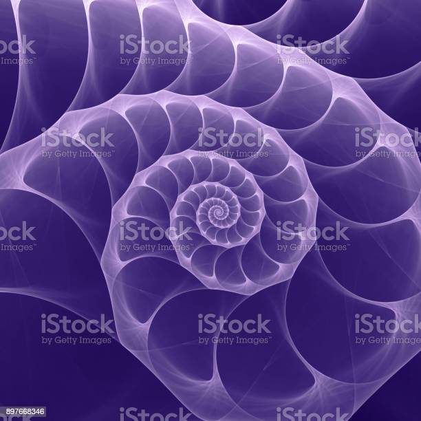 Ultraviolet Nautilus Sea Shell Swirl. Ultra Violet - Trendy Color of the year 2018