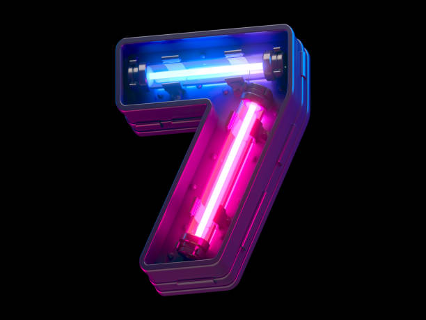 Ultraviolet neon futuristic. Ultraviolet neon futuristic. number 7 stock pictures, royalty-free photos & images