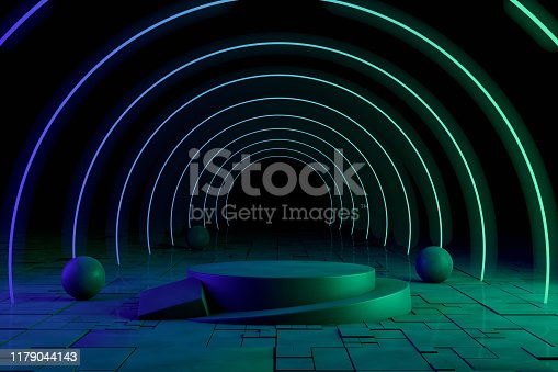 Ultraviolet Neon Laser Glowing Circle Lines, Light Tunnel, Abstract 3D Background Rendering, Copy space for advertisement. Empty Product Stand.