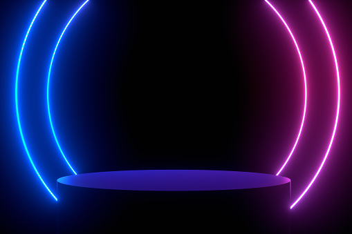 Ultraviolet Neon Laser Glowing Lines, Abstract 3D Background with Empty Product Stand, Platform