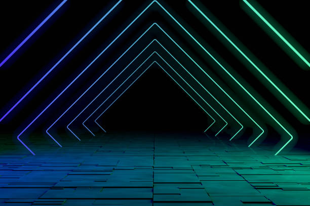 Ultraviolet Neon Laser Glowing Square Lines, Light Tunnel, Abstract 3D Background stock photo