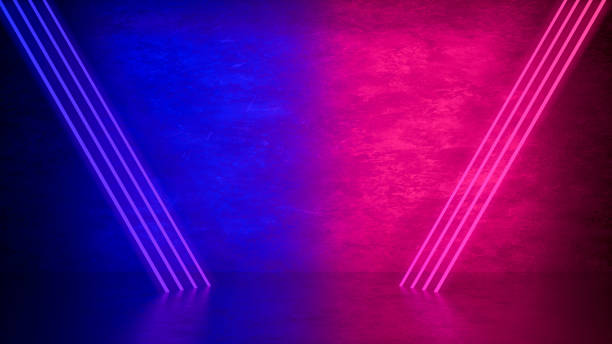 Ultraviolet Neon Laser Glowing Triangle Lines, Light Tunnel, Abstract 3D Background stock photo
