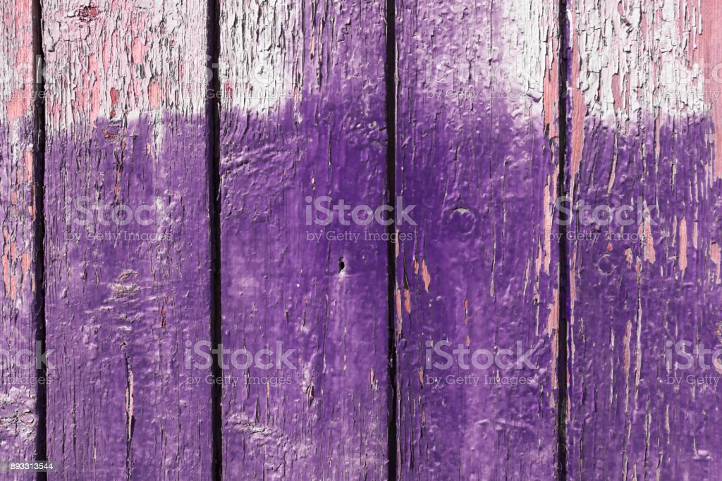 Ultraviolet Old Peeling Paint Wood Surface. Empty Textured Background For Product And Food Composition With Space For Text. Flat Lay. stock photo