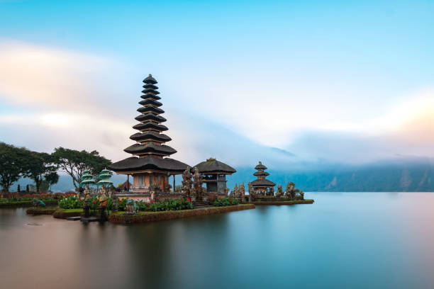 Ulun Danu Beratan Temple, Bali ,Indonesia. Ulun Danu Beratan Temple is a famous  landmark located on the western side of the Beratan Lake , Bali ,Indonesia. indonesia stock pictures, royalty-free photos & images