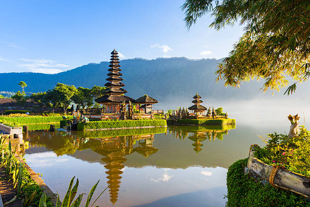 Pura Ulun Danu Bratan at sunrise, Bali, Indonesia Pura Ulun Danu Bratan at sunrise, famous temple on the lake, Bedugul, Bali, Indonesia. indonesia stock pictures, royalty-free photos & images