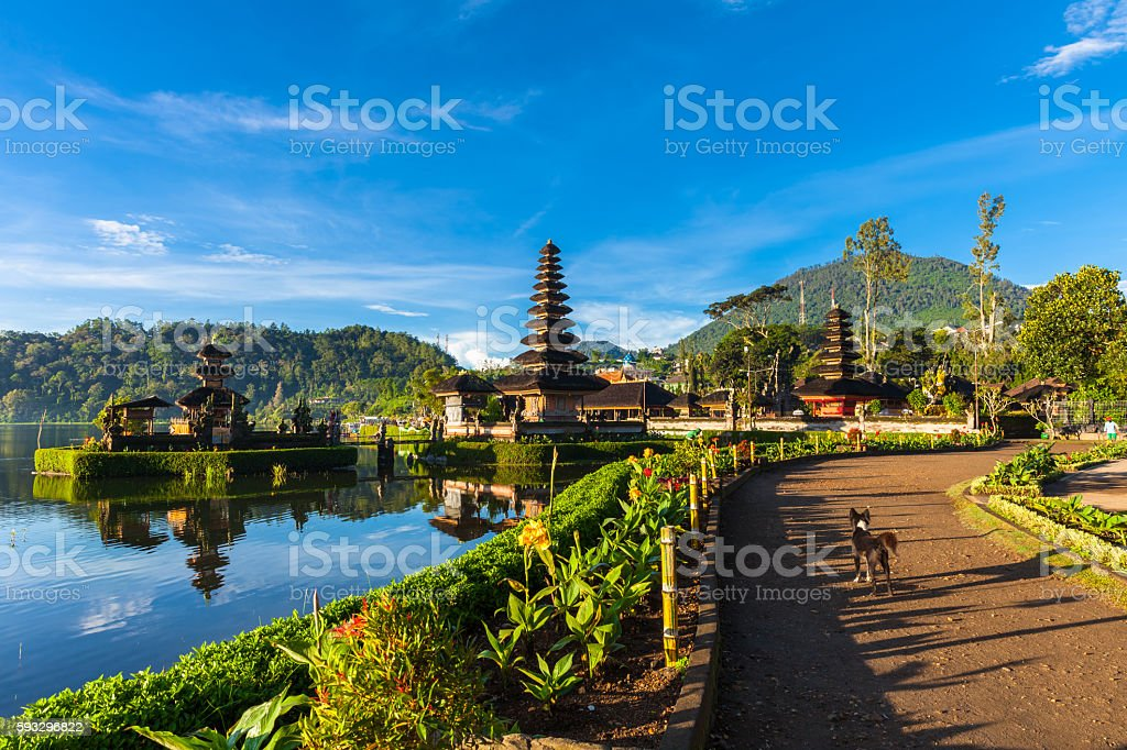 Pura Ulun Danu Bratan at sunrise, Bali stock photo