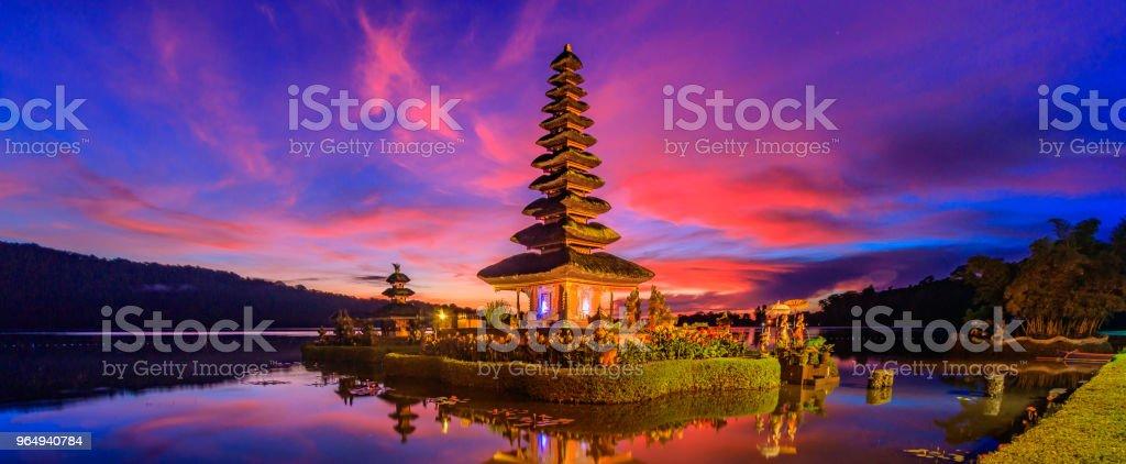 Ulun Danu temple Landmark of Bali at Beratan Lake in Bali Indonesia stock photo