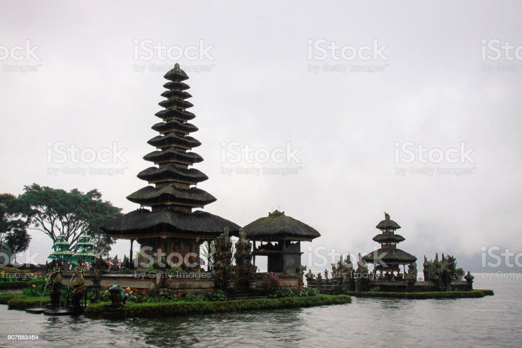 Ulundanu Water Temple in Bali in lake stock photo