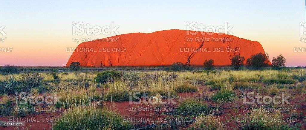 Uluru at sunset, Australia stock photo