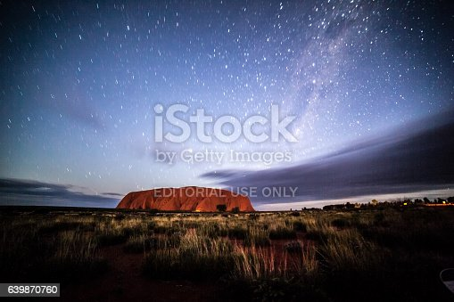 Uluru Kata Tjuta national park, Australia - May 26, 2016: Ayers Rock or Uluru, Northern Territory, Australia landscape image at night.