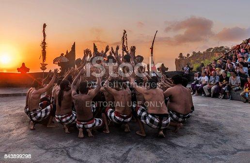 Bali, Indonesia - October 2015: Uluwatu Kecak and Fire Dance happens in Uluwatu temple every evening, Bali, Indonesia