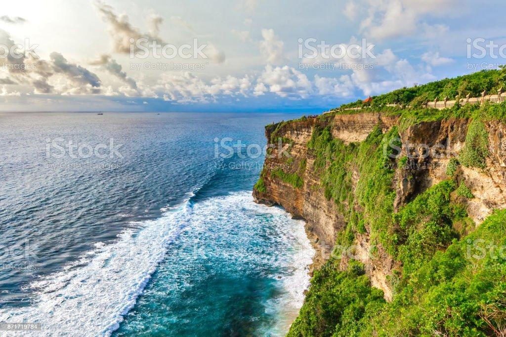 Pura Uluwatu viewpoint, horizontal frame, Bali, Indonesia. stock photo