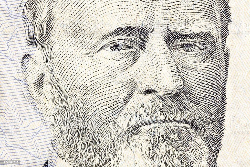 Ulysses S Grant Macro Close Up US Fifty Dollar Bill stock photo