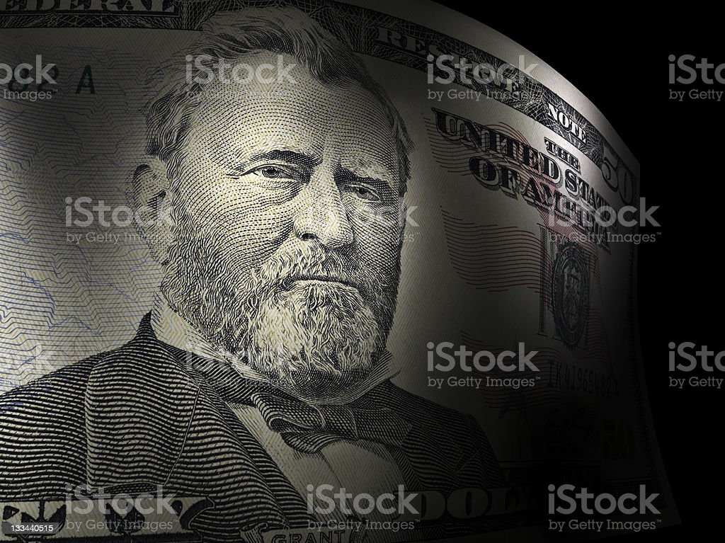 Ulysses S. Grant's close up in a fifty dollar bill stock photo