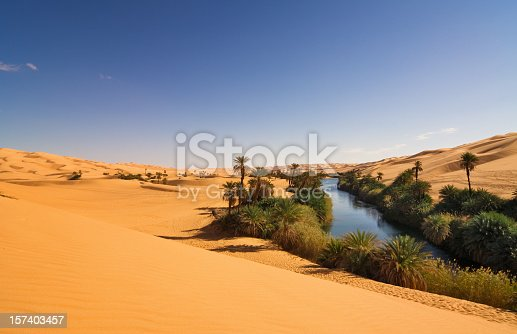 The Umm el Ma or Umm el Ma (Mother of the Water) is about 800 meters long stretched lake in the Libyan part of the Sahara in the Fezzan Awbari. The oasis formed by the lake will be saved from numerous underground water reservoirs. The salinity of the lake rises to 34%.
