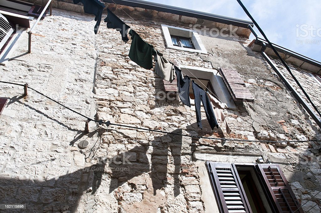 umag town back street scene in croatia stock photo
