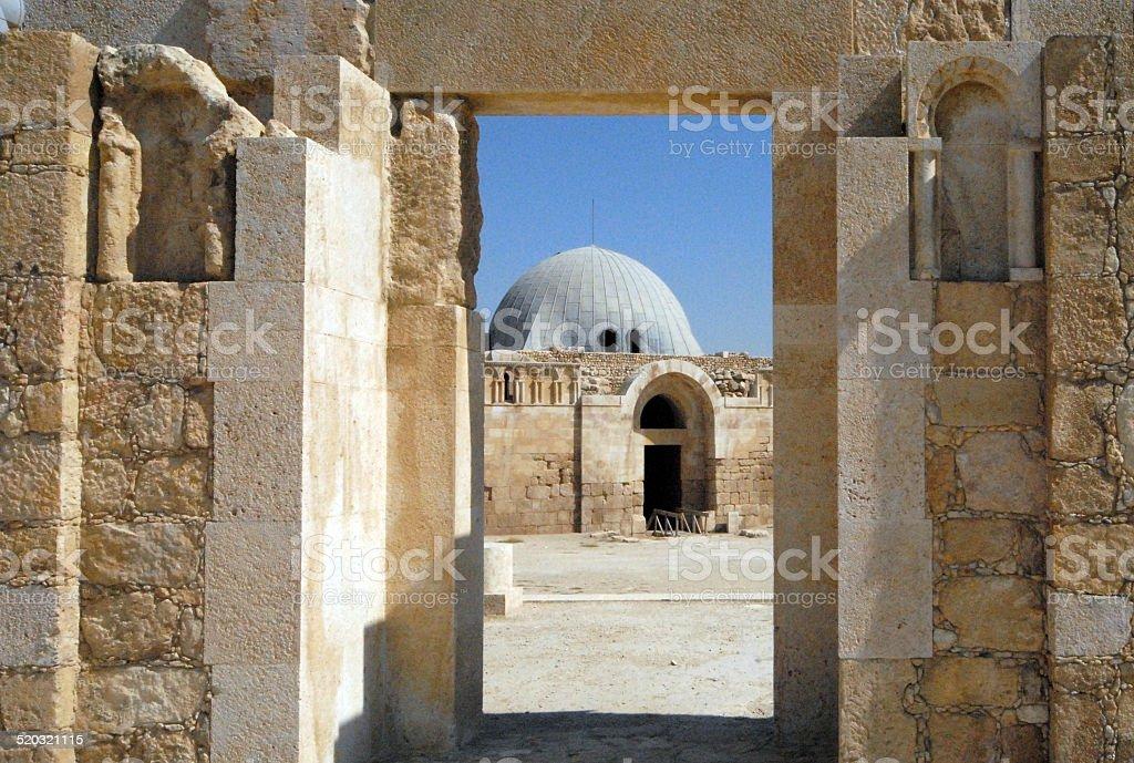 Umayyad Palace and gate of the Umayad mosque, Amman, Jordan stock photo