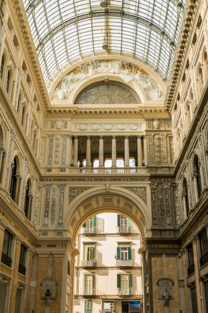 Umberto I gallery in the city of Naples, italy stock photo