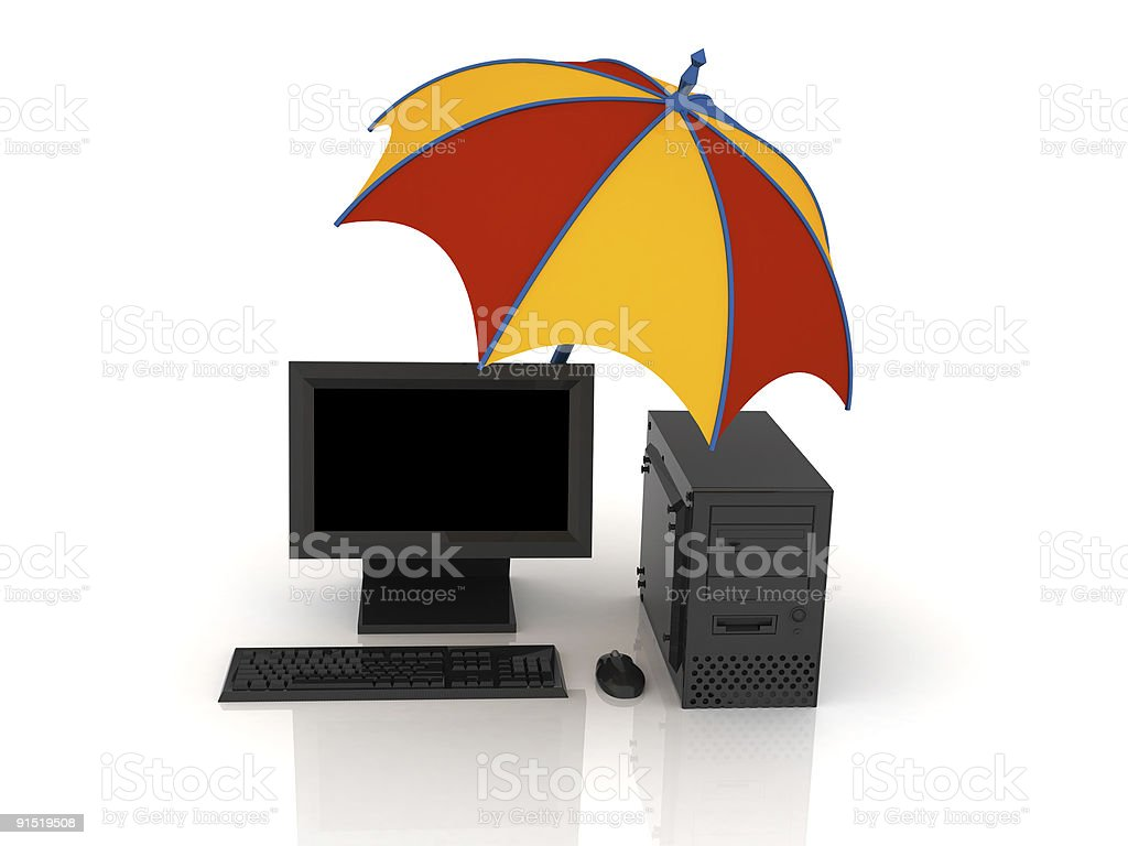 Umbrella and computer royalty-free stock photo