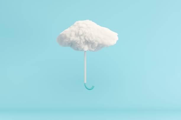 Regenschirm Wolke schwebend auf blauem Hintergrund. Minimales Ideenkonzept. 3D-Rendern. – Foto