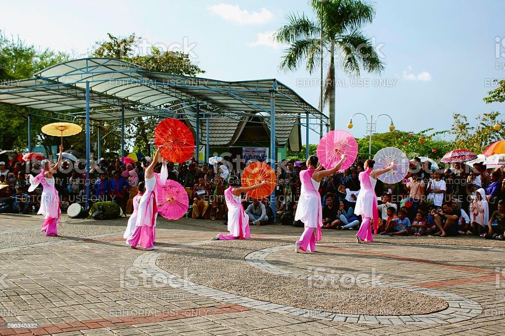 Umbrella dancer from Taiwan stock photo