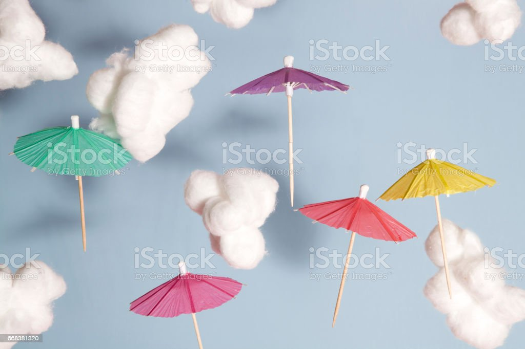 umbrella flying in the air stock photo