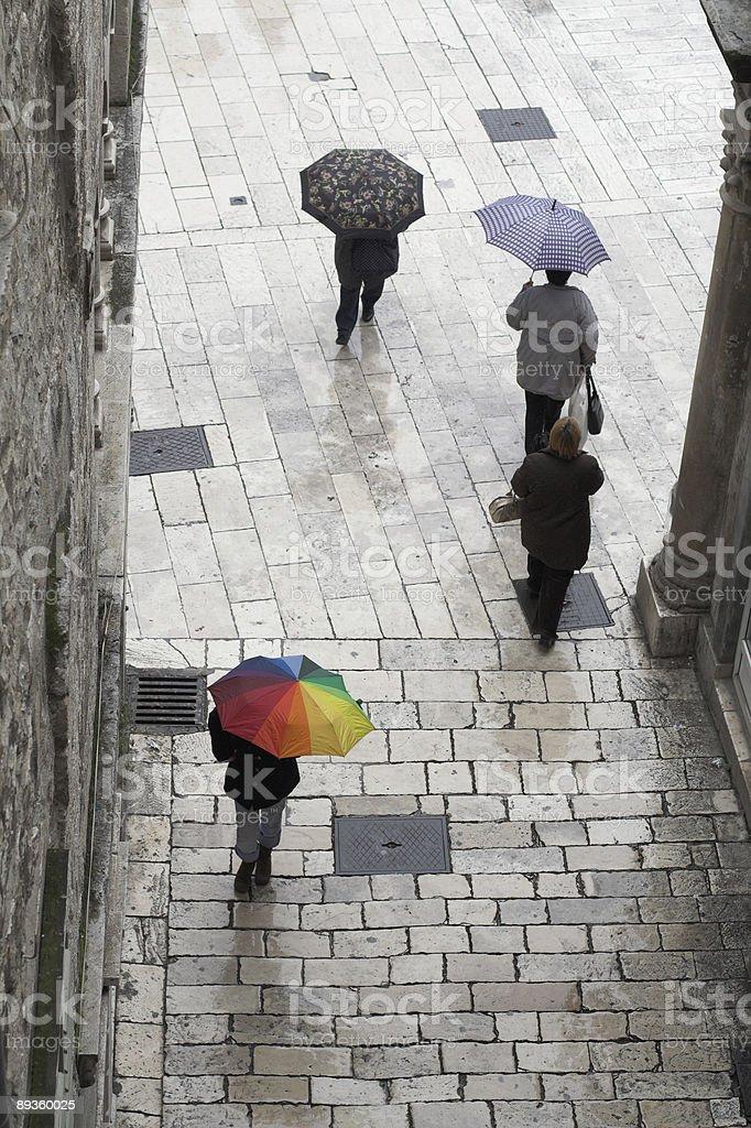 Umbrella in the rainbow colors royalty-free stock photo