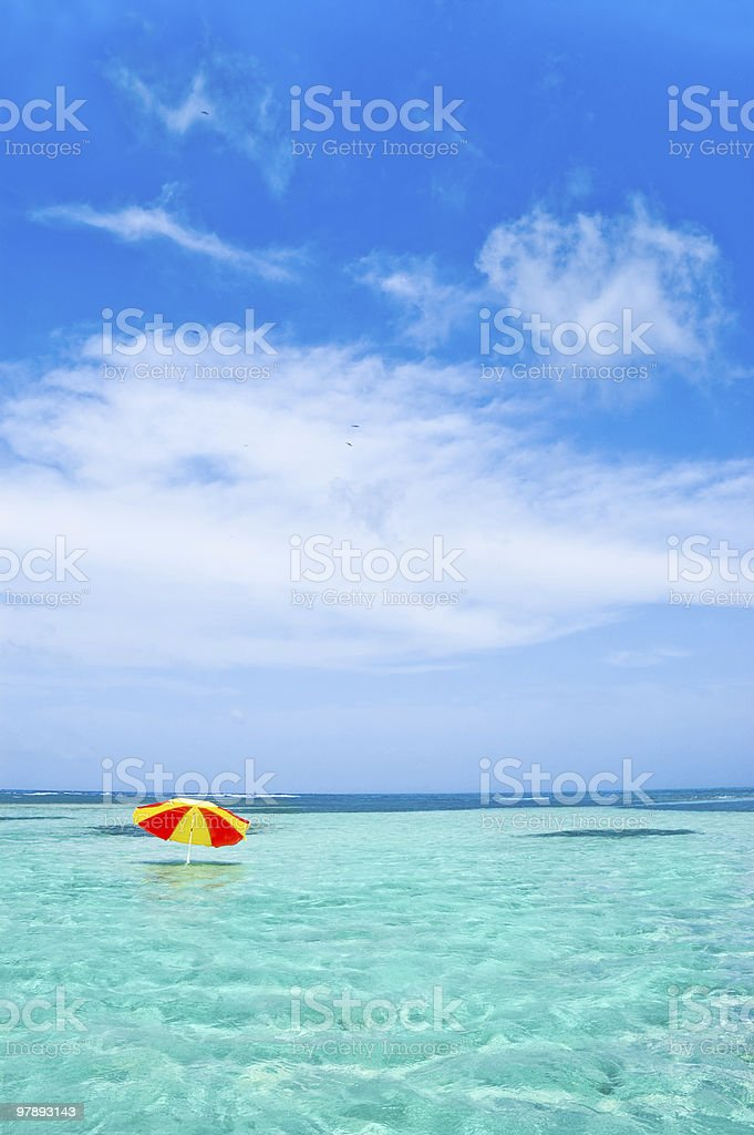 Umbrella in the water royalty-free stock photo