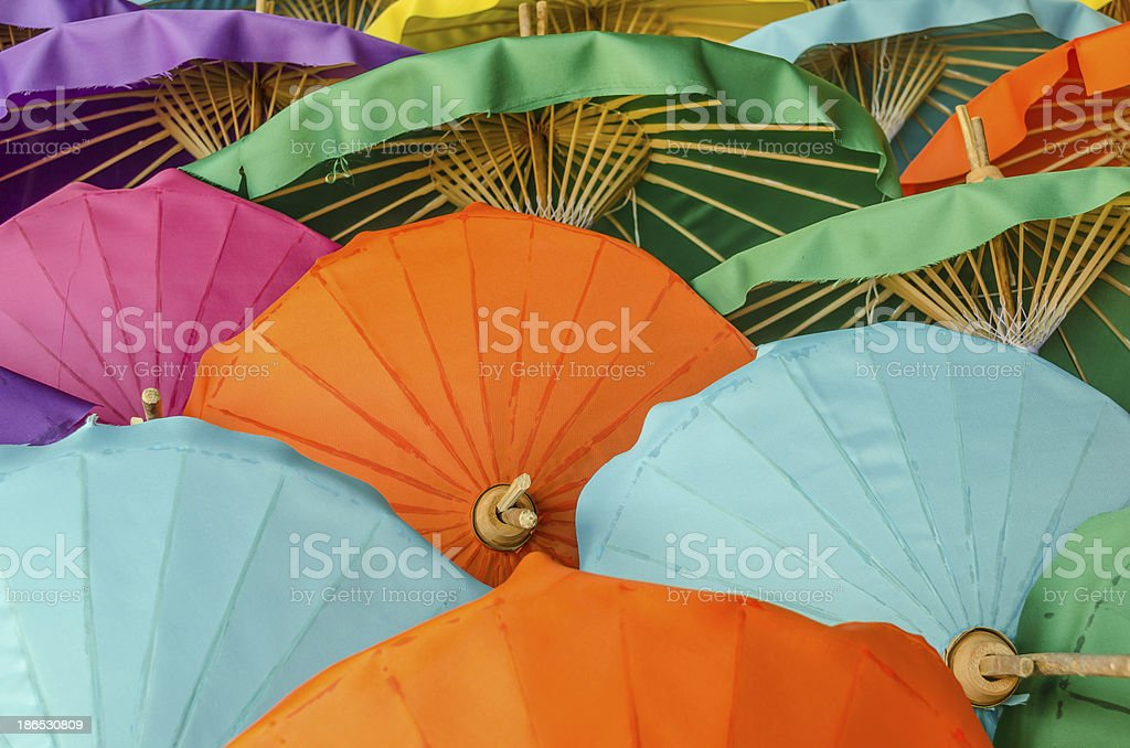 Umbrella made of paper with various color royalty-free stock photo