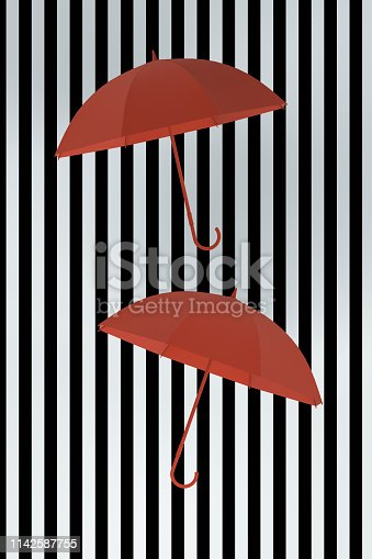 Umbrella, Standing Out From The Crowd, Individuality, Inspiration, Leadership, striped black and white background.