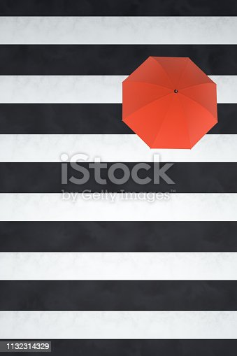 Umbrella, Standing Out From The Crowd, Individuality, Inspiration, Leadership, Crosswalk black and white background.