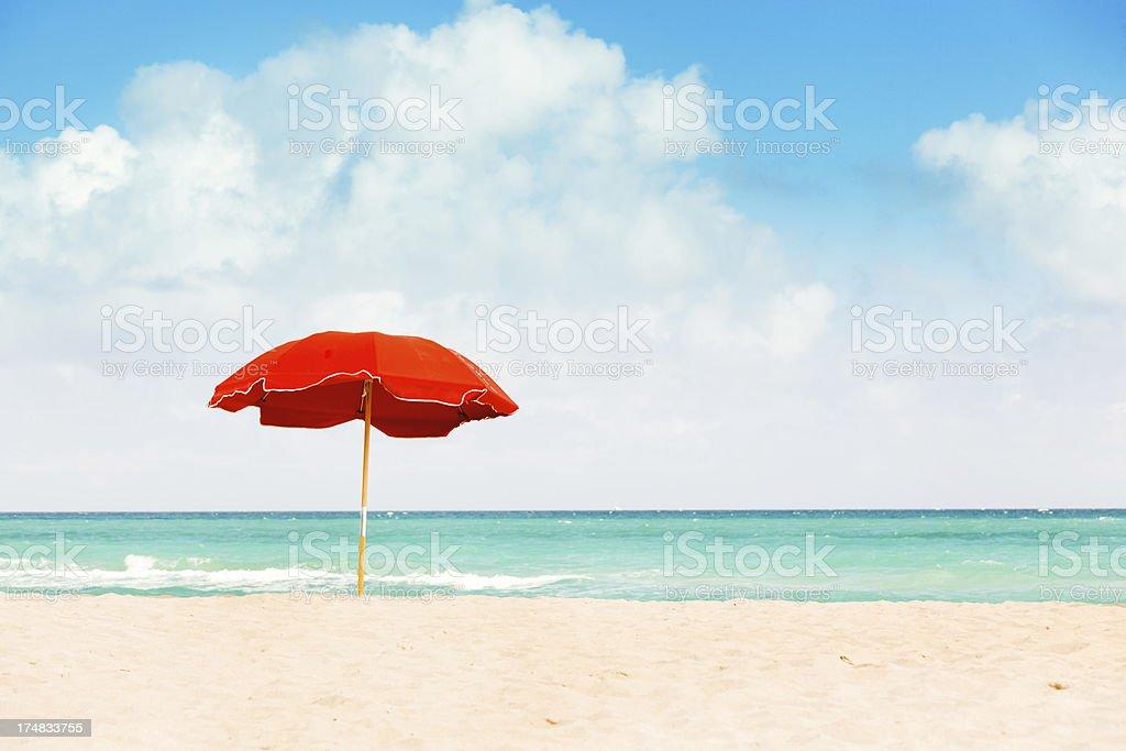 Umbrella on South Beach of Miami Florida royalty-free stock photo