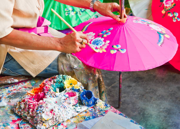 Umbrella painting handmade. Umbrella painting, handmade fabric umbrella in Chiang mai (  bo -sang) , Thailand. chiang mai province stock pictures, royalty-free photos & images