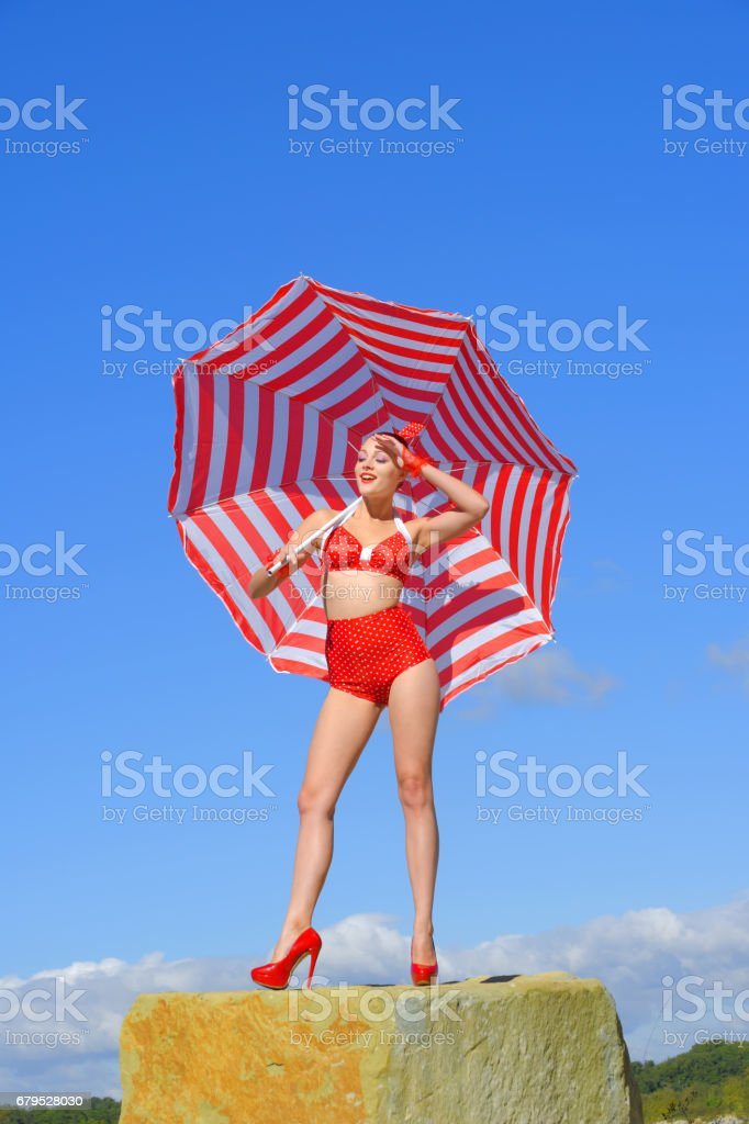 Umbrella Pin-Up Girl royalty-free stock photo