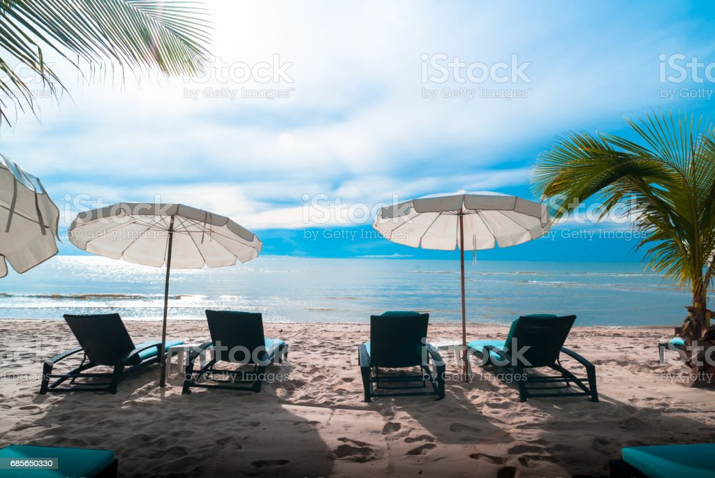 Umbrella pool and chair royalty-free stock photo