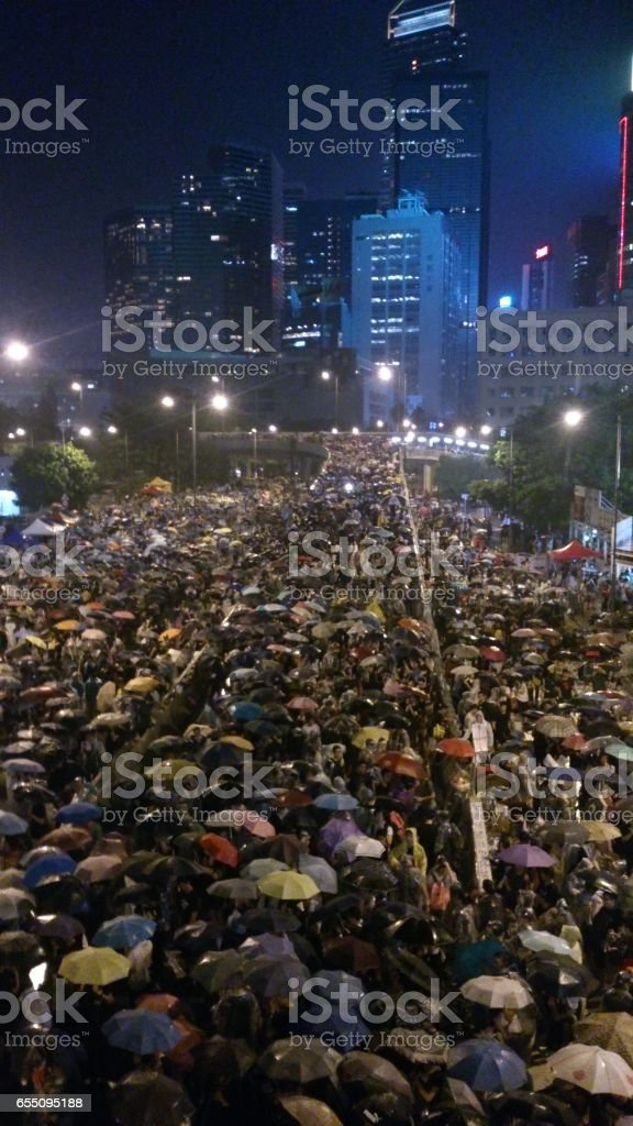 Umbrella Revolution, Hong Kong stock photo