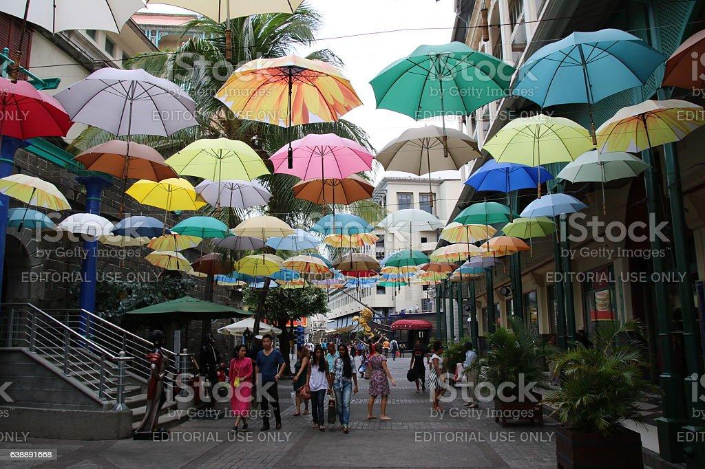 Umbrella street decoration caudan waterfront port louis mauritius indian ocean stock photo - Mauritius market port louis ...