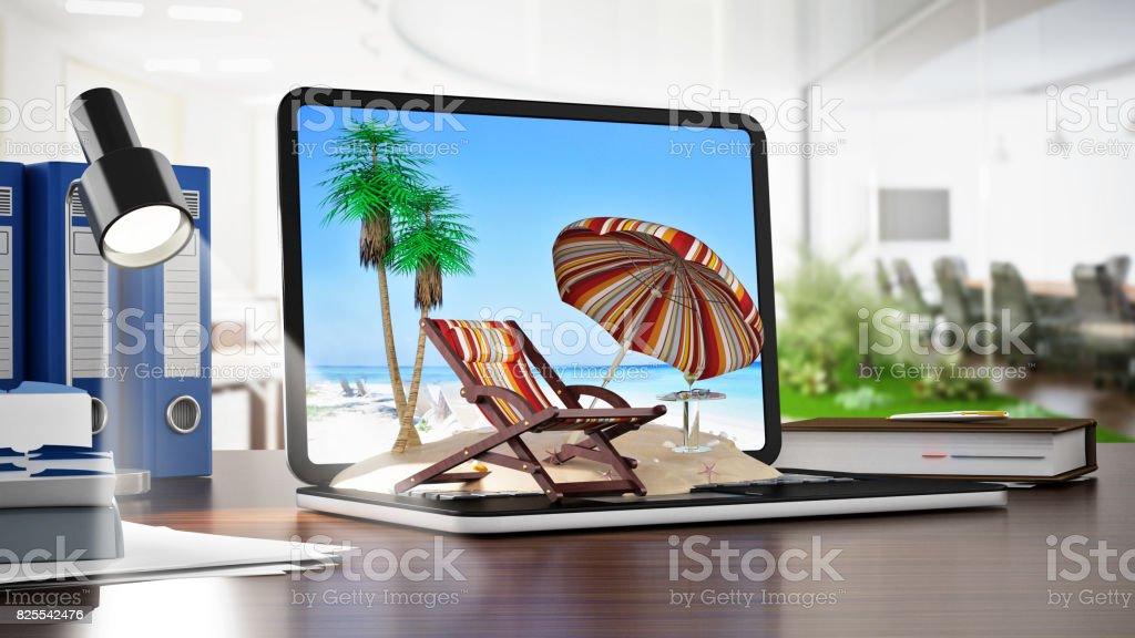 Sonnenschirm, Sonnenliege und Plam Bäume im Sand stehen auf Notebook-Computer. Online-Buchung Konzept Reiseziele – Foto