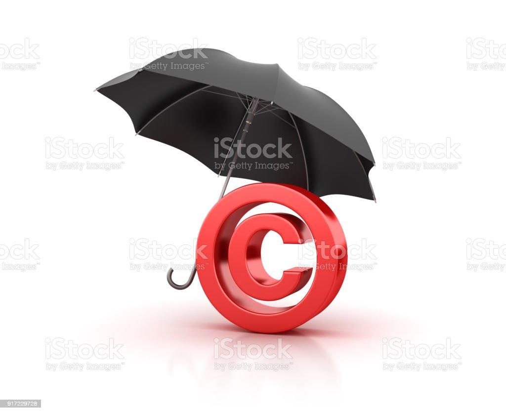 Umbrella With Copyright Symbol 3d Rendering Stock Photo More