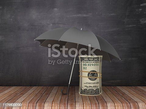 Umbrella with Dollar Money Roll on Wood Floor - Chalkboard Background - 3D Rendering
