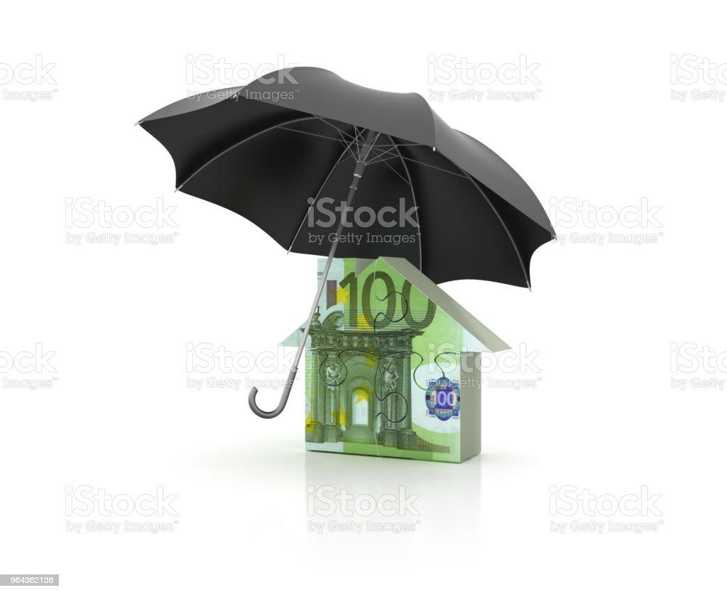 Paraplu met Euro huis Puzzle - 3D-Rendering - Royalty-free Architectuur Stockfoto