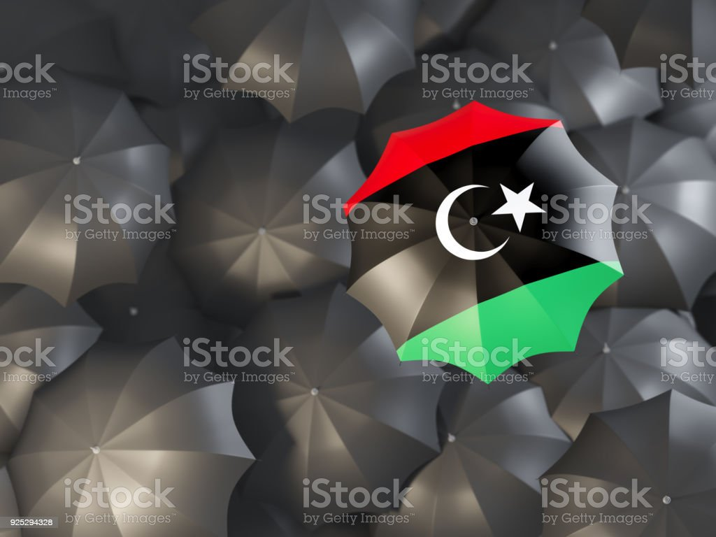 Umbrella with flag of libya stock photo